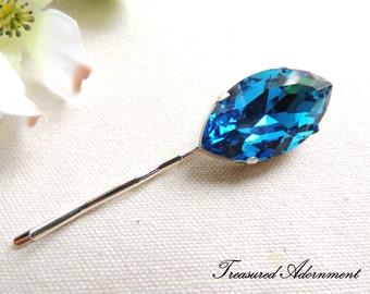 READY TO SHIP, Bridal Hair pin, Something Blue, Bermuda Blue Rhinestone Bobby Pin, Marquis on Silver pin, wedding hair accessory, gift
