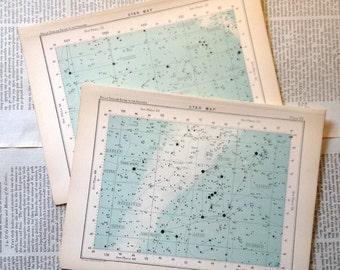 1910 set of 2 star maps original antique celestial chart astronomy prints - nos. 59 & 63