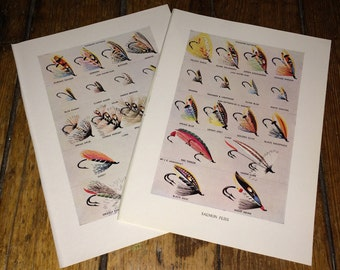 1970 SALMON FLIES fly fishing antique original lithograph - lures plugs flies fishing -  set of 2 prints