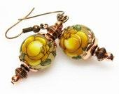 RESERVED for Connie Yellow Earrings - Rose Earrings - Floral Earrings - Copper Earrings - Vintage Style Earrings - Chic Earrings - Handmade