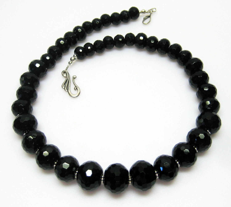 chunky black necklace black onyx necklace classic black