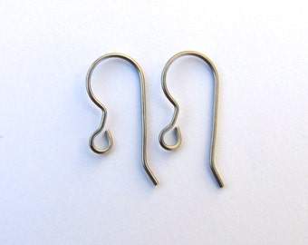 Titanium Earring Wires 21 gauge 20mm Hypoallergenic French Hooks 20 pairs jewelry findings supplies