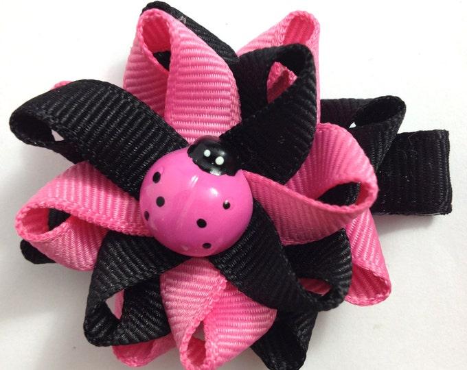 Pink & Black Ladybug Hair Bows