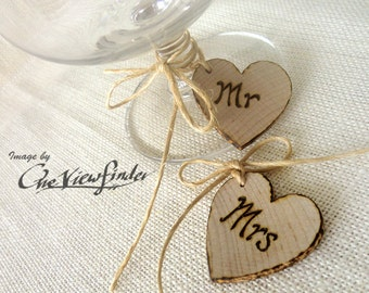 Wooden Heart Charms, wine charm, rustic heart, Mr & Mrs