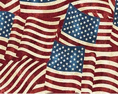 American Flags, Quilt Fabric, 1 Yard, Stonehenge American Flags, Fine Quilting Cotton, Red Off White Blue