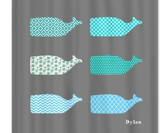 Gray Whale Shower Curtain Perfect for Boys and Girls, Kids Bathroom Shower Curtain