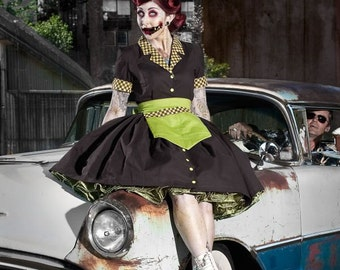 Zombie Car Hop Costume Retro 50s Waitress Dress Apron and Hat Brown Lime Green Pinup Pin Up Halloween Womens Cute Modest Couture