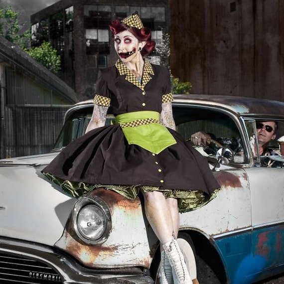 Items similar to Zombie Car Hop Costume Retro 50s Waitress Dress Apron and Hat Brown Lime Green ...