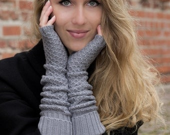 Grey color hat and fingerless gloves, cashmere and merino wool, Hat and Fingerless, Grey Beanie, Steel Grayhat, Women hat, Souchy Hat