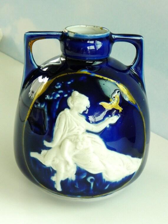 Cobalt Blue Vase With Goddess Cherub And Gold Trim