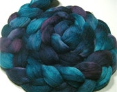 Polwarth & tussah silk hand dyed roving 4.5 oz Midnight Sea - wool spinning and felting fiber - aqua teal purple top - roving