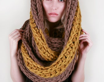 The Striped Hudson Circle Scarf in Walnut & Golden Heather 100% Ultra-Soft Wool (Choose Your Colors!)
