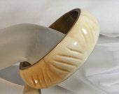 RESERVED for Pam Vintage Bone Bracelet.  Brass Bangle. Carved Bone. African. Tribal.