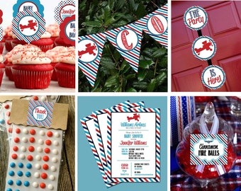 Airplane Retro Vintage Banner Candy Table Label Baby Shower Party Printable - Stick to Your Story