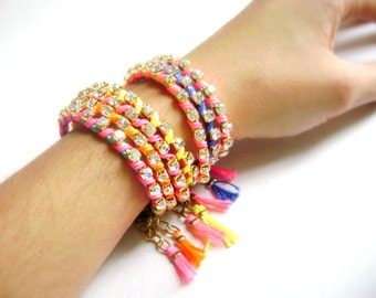 Neon Stacking friendship bracelet neon Five eco suede leather and rhinestone  pink blue orange yellow Fun time -