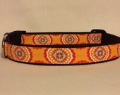 Tangerine Medallions Large Dog Collar