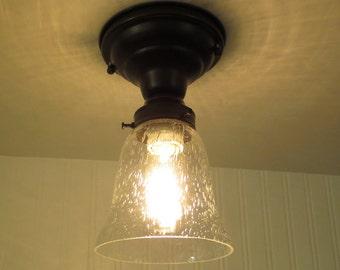Kellie II.  Glass CEILING LIGHT of Seeded Glass Lighting - Flush Mount Fixture Farmhouse Chandelier Pendant Kitchen Hall Pantry LampGoods