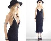 Lace Dress Black Lace Dress Bohemian Lace Dress Boho Dress Boho Clothing Crochet Maxi Dress Vintage Festival Clothing Boho Maxi Dress xs s