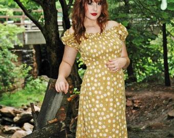 Vintage 70s stretchy maxi Hippie Folk dress
