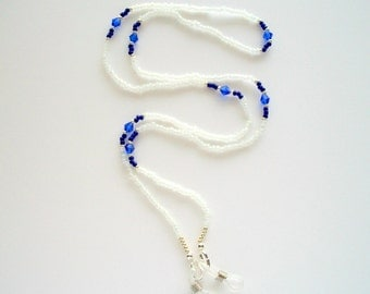 White Eyeglass Holder Beaded Lanyard with White Frosted Glass Beads and Blue Sapphire Crystal Bicone's