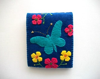 Sewing Needle Book Dark Blue Felt with Teal Butterfly and Hand Embroidered Felt Flowers Handsewn