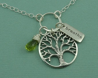 Tree of Life Charm Necklace - sterling silver necklace - tree necklace - tree jewelry - tree pendant - breathe necklace