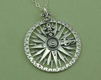Compass Necklace - Sterling Silver Compass Pendant Jewelry, Navigation, Nautical Jewelry, Boating Gifts, Birthday Gift