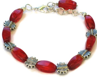 Red & Silver Bracelet, Twisted Glass, Gifts for Women Mom Wife Daughter Sister Grandma Under 20, Valentines Day, Birthday Christmas Gifts