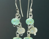 Dangly Cascade Earrings, sterling silver and lampwork glass bead earrings, green, blue, ivory, long and dangly, glass earring, Made to Order
