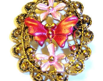 vintage fushia pink butterfly and flowers gold tone vintage brooch pin LE14