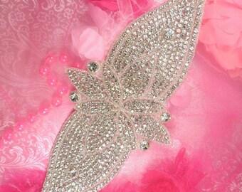 """TS160 DIY Bridal Sash Silver Beaded Crystal Clear Glass Rhinestone Applique 13.75"""" (TS160-slcr)"""