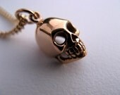 "Steampunk Skull Necklace - Natural Bronze Skull Necklace - 18"" or 24"" Diamond Cut Gold Plated Curb Chain"
