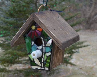 STAINED GLASS Mosaic Birdhouse with a RED Flower and Green Background
