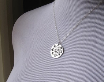 Necklace Fine Silver Charm PMC Focal Pendant with Sterling Silver Jump Ring -Laird Flower-