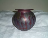 Art Glass Handblown Vase Purple Gray Abstract 5.5 inches