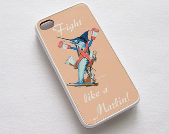 Fight like a Marlin Limited Edition iPhone case fits iPhone 4/4S Breast Cancer artwork pink ribbon
