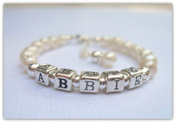 MORE Colors Sterling and Freshwater Pearl Baby Child NAME Bracelet B134