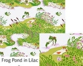 18 inches (half Yard) HTF OOP Briar Rose Heather Ross Fabric Whimsical Frog Pond Family Swimming Summer Picnic Lilac