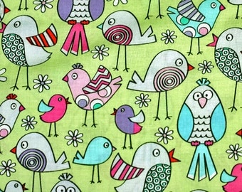 Lets Tweet by Benartex Fabric Multicolored Striped Polka Dot Birds Bird on Lime Green