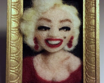 needle felted Marilyn Monroe fridge magnet