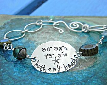 Hand stamped, sterling silver Latitude and Longitude bracelet