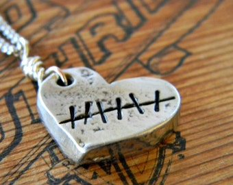 heart necklace, hand stamped pewter, mended heart, personalized custom jewelry