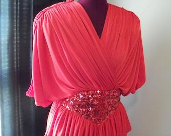 Vintage 1980s Red Dress Size M