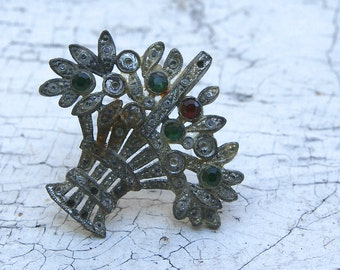 Antique Rhinestone Pin For Repurposing 1920s