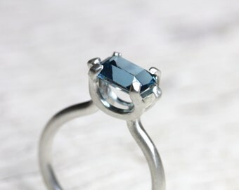 Modern Blue Topaz Engagement Ring Sterling Silver Unique Tall 4 Prong Setting Architectural Floating Emerald Cut Gemstone - Sculpted Cyan
