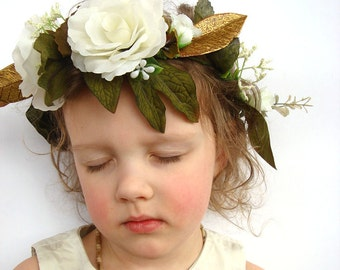White rose flower crown, hair accessory, hair wreath, flower girl, bridal flower crown, woodland wedding