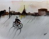 "Original Watercolor Painting- ""Riding Alone"""