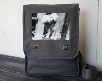Poodle Buddies - Vintage Photograph -- Field Bag - School Bag - Smoke Gray - Canvas Bag
