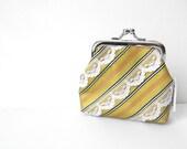 Yellow Coin Purse Necktie Coin Purse Striped Coin Purse Lace Stripe Coin Purse Yellow Necktie Clutch Yellow Purse Recycled Tie Coin Purse