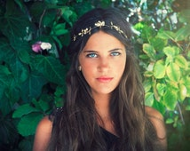 Berries Headband, Bridal Hair Accessory, Gold Leaves Wreath, Bridesmaid Jewelry, Grecian Headband, Bridal Forehead Band, Bohemian Hair Piece
